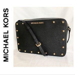 NWT authentic MK leather studded crossbody black